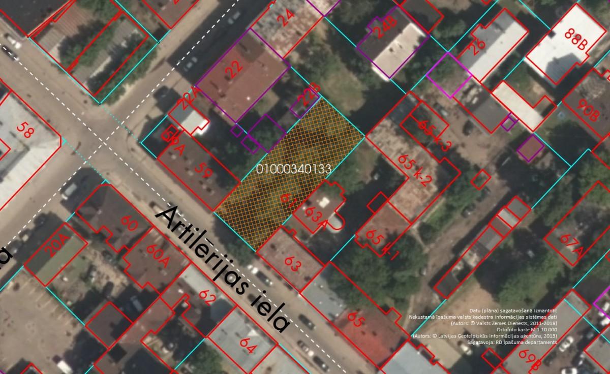 Elektroniskā izsolē ar augšupejošu soli tiek pārdota zemesgabala 1/2 domājamā daļa Artilērijas ielā 61, Rīgā (Grīziņkalna apkaimē)