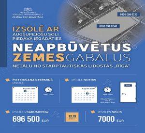 """Izsolē ar augšupejošu soli piedāvā iegādāties neapbūvētus zemesgabalus netālu no starptautiskās līdostas """"Rīga"""""""
