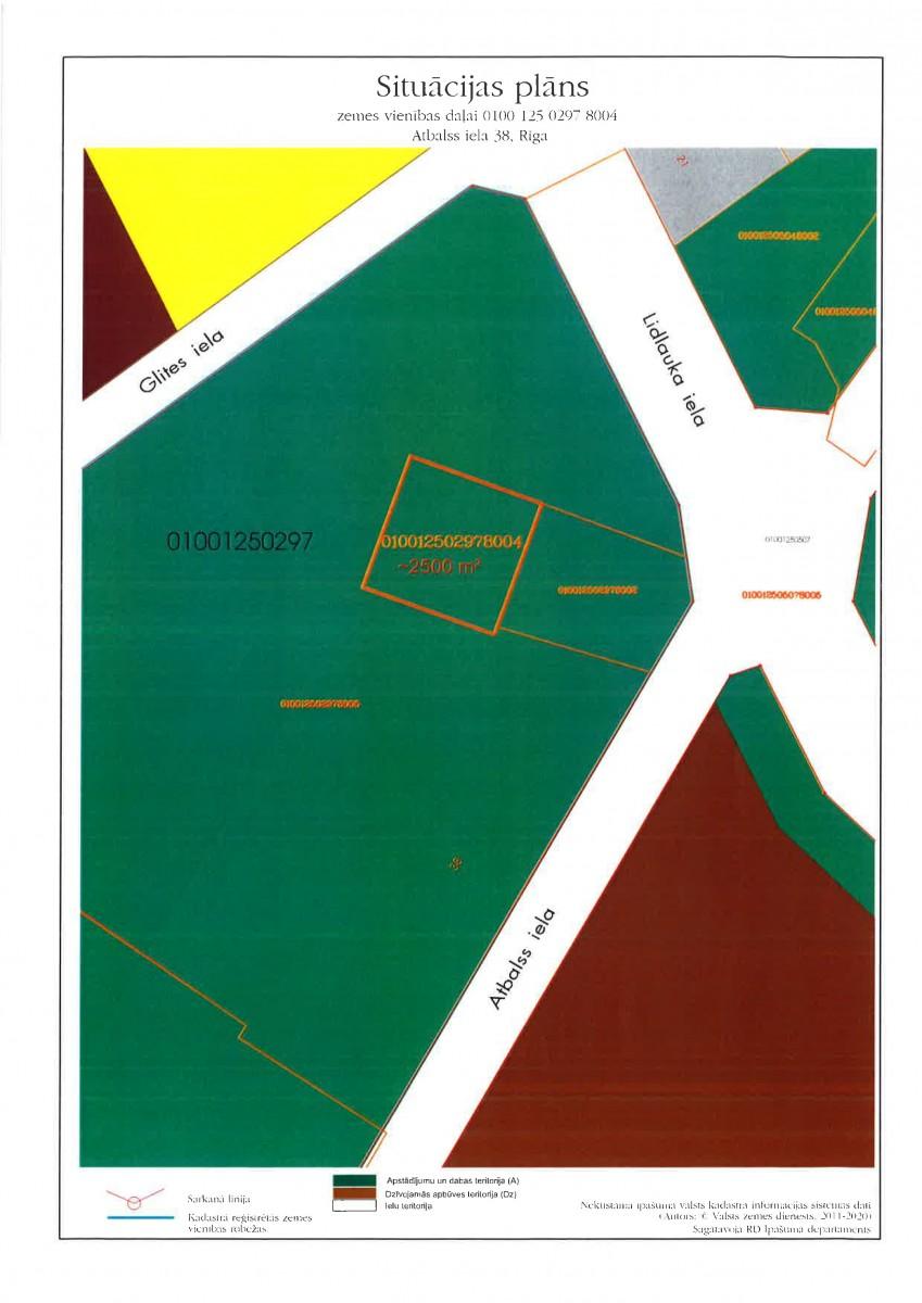 Sludinājums par zemesgabala Atbalss ielā 38, Rīgā, daļas (kadastra apzīmējums 0100 125 0297 8004), pirmo nomas tiesību izsoli