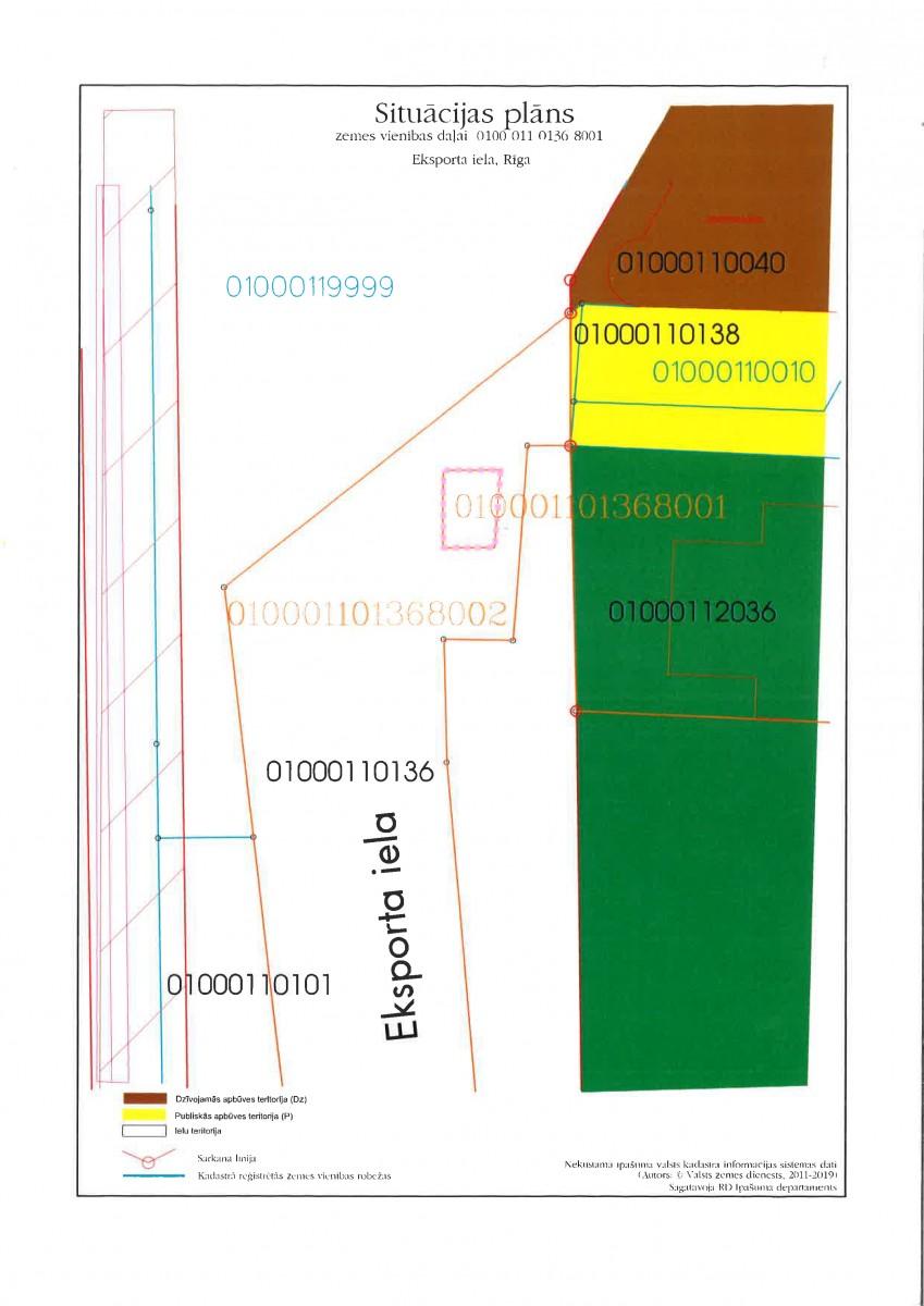 Sludinājums par neapbūvēta zemesgabala Eksporta ielā, Rīgā, (kadastra apzīmējums 0100 011 0136 8001) atkārtotu nomas tiesību izsoli