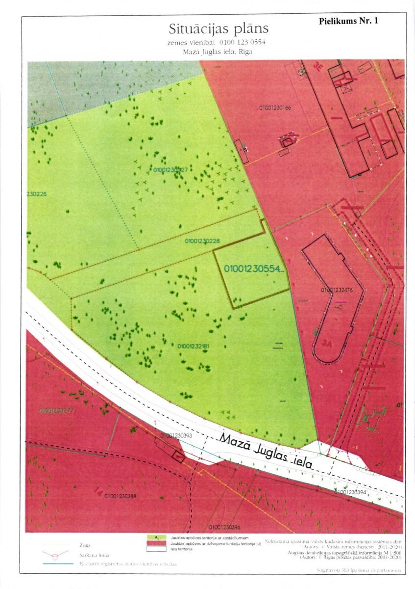 Sludinājums par zemesgabala bez adreses, Mazā Juglas ielā, Rīgā (kadastra apzīmējums 0100 123 0554), atkārtotu nomas tiesību izsoli