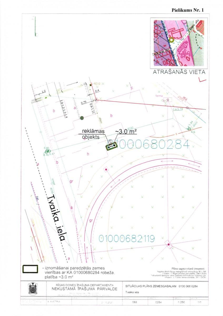 Sludinājums par neapbūvēta zemesgabala bez adreses, Tvaika ielā, Rīgā (kadastra apzīmējums 0100 068 0284), atkārtotu nomas tiesību izsoli