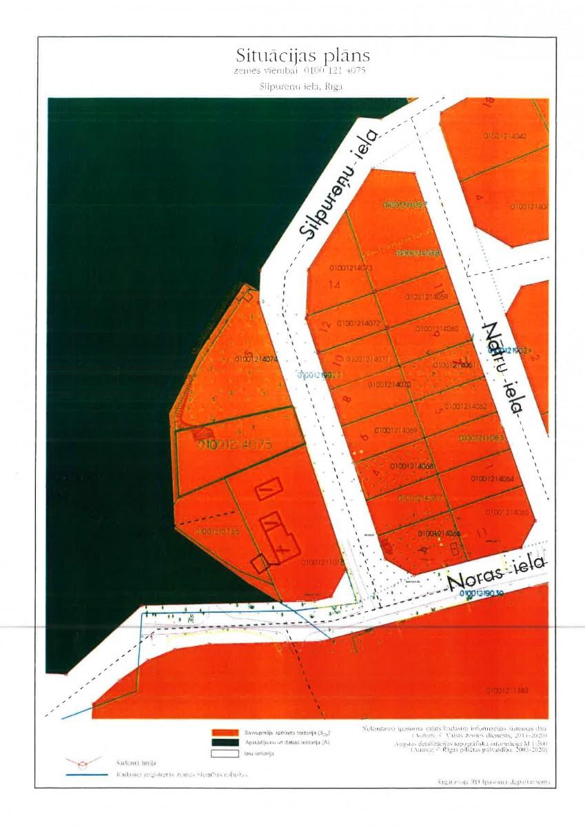 Sludinājums par neapbūvēta zemesgabala bez adreses, Silpureņu ielas rajonā, Rīgā (kadastra apzīmējums 0100 121 4075), pirmo nomas tiesību izsoli
