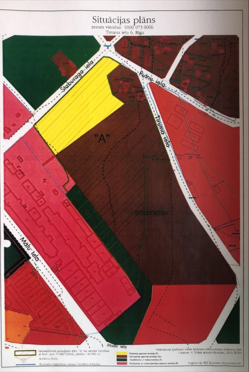 """Sludinājums par zemesgabala Tīruma ielā 6, Rīgā (kadastra apzīmējums 0100 073 0066), daļas """"A"""", pirmo nomas tiesību izsoli"""