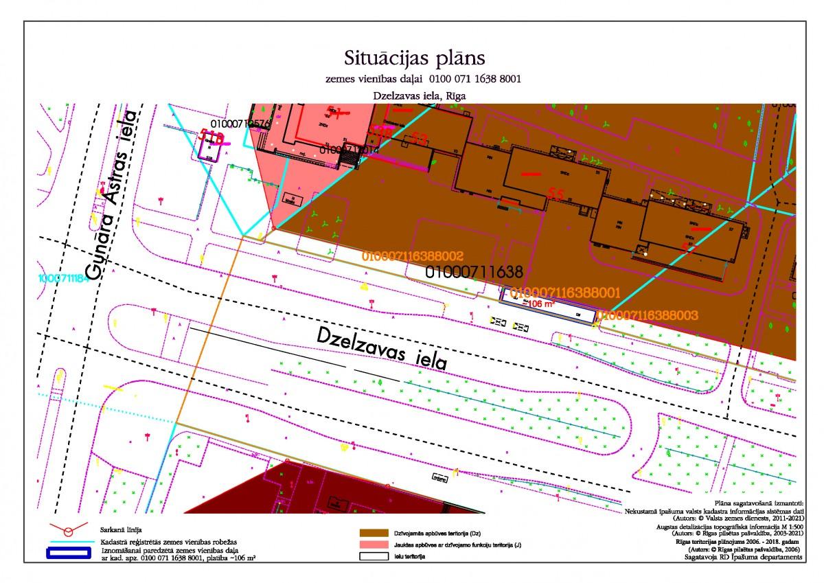 Sludinājums par neapbūvēta zemesgabala b/a, Dzelzavas ielā, Rīgā, daļas ar kadastra apzīmējumu 0100 071 1638 8001, pirmo nomas tiesību izsoli