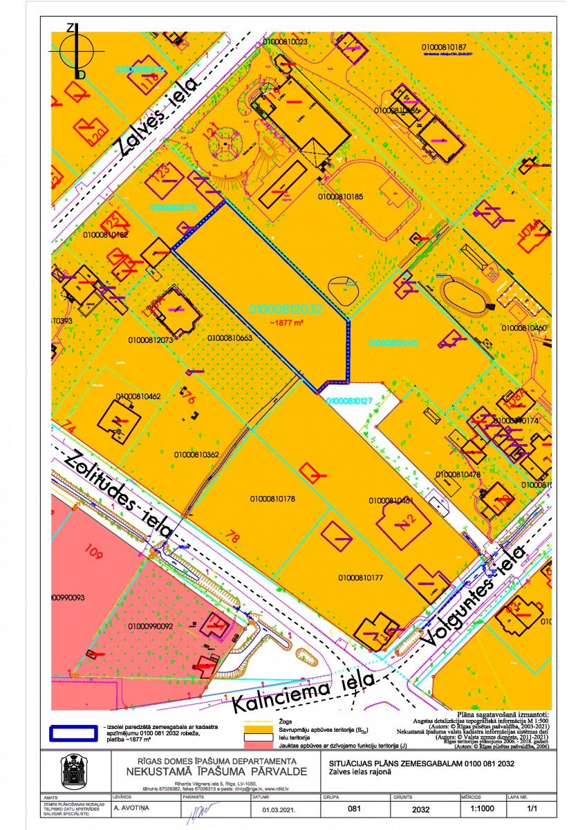 Sludinājums par neapbūvēta zemesgabala bez adreses, Zalves ielas rajonā, Rīgā (kadastra apzīmējums 0100 081 2032), pirmo nomas tiesību izsoli