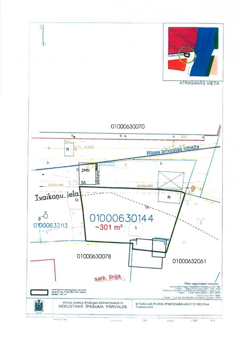 Sludinājums par zemesgabala bez adreses, Tvaikoņu ielā, Rīgā, kadastra apzīmējums 0100 063 0144, pirmo nomas tiesību izsoli