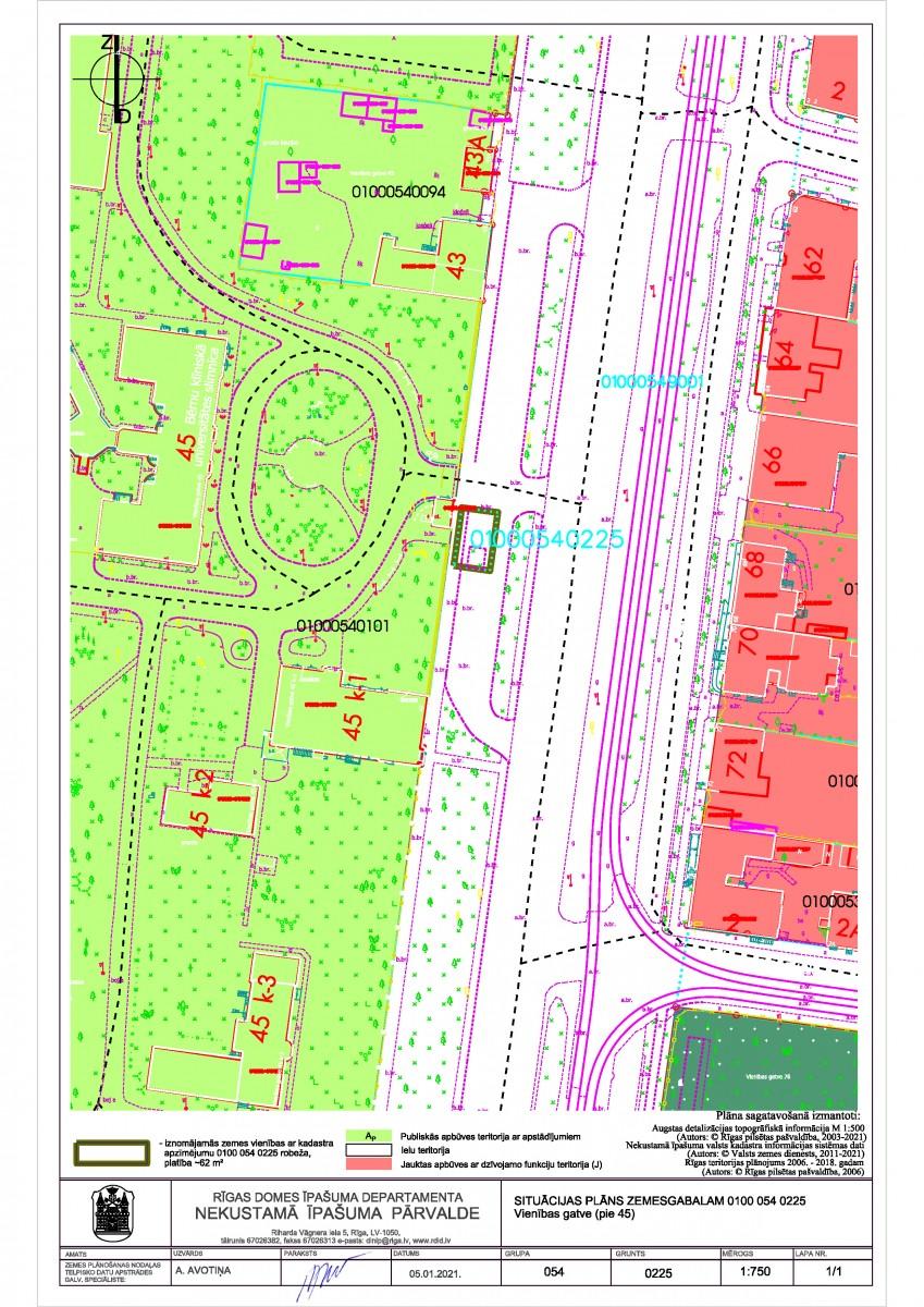 Sludinājums par neapbūvēta zemesgabala bez adreses, Vienības gatvē, Rīgā (kadastra apzīmējums 0100 054 0225), pirmo nomas tiesību izsoli