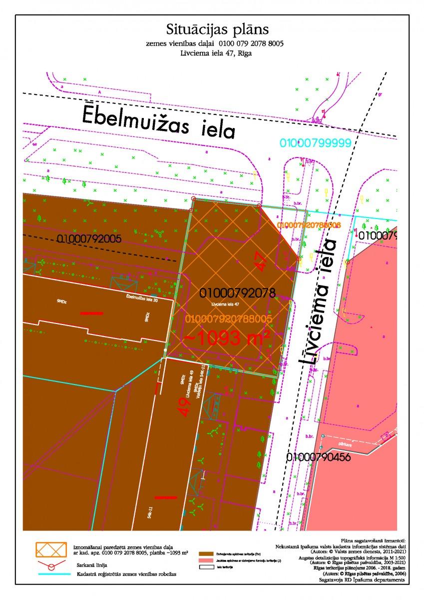 Sludinājums par neapbūvēta zemesgabala Līvciema ielā 47, Rīgā (kadastra apzīmējums 0100 079 2078 8005) atkārtotu nomas tiesību izsoli