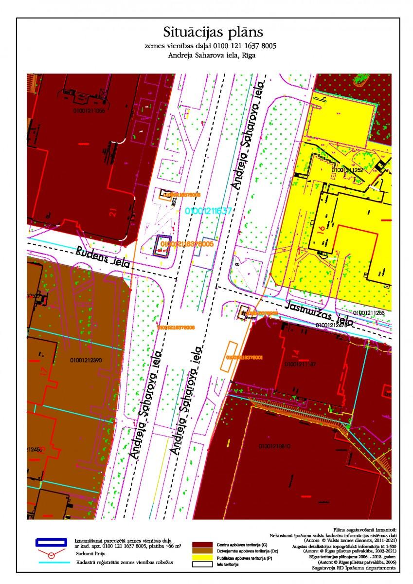 Sludinājums par neapbūvēta zemesgabala b/a, Andreja Saharova ielā, Rīgā, kadastra apzīmējums 0100 121 1637 8005, pirmo nomas tiesību izsoli