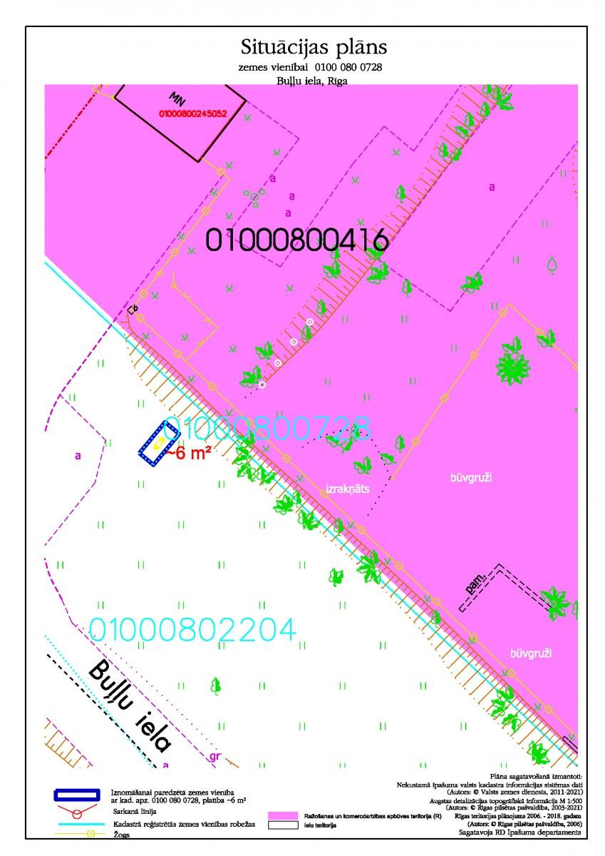 Sludinājums par neapbūvēta zemesgabala bez adreses, Buļļu ielā, Rīgā, kadastra apzīmējums 0100 080 0728, pirmo nomas tiesību izsoli