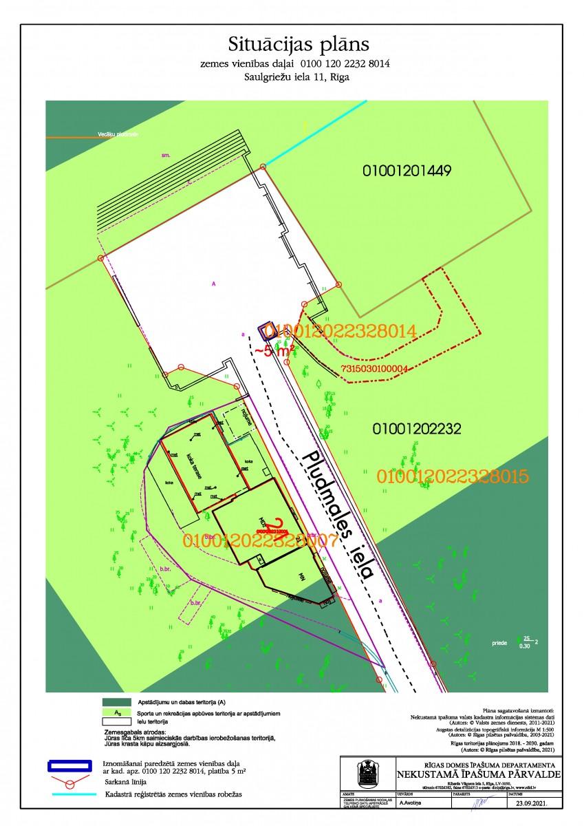 Sludinājums par neapbūvēta zemesgabala Saulgriežu ielā 11, Rīgā, kadastra apzīmējums 0100 120 2232 8014, pirmo nomas tiesību izsoli
