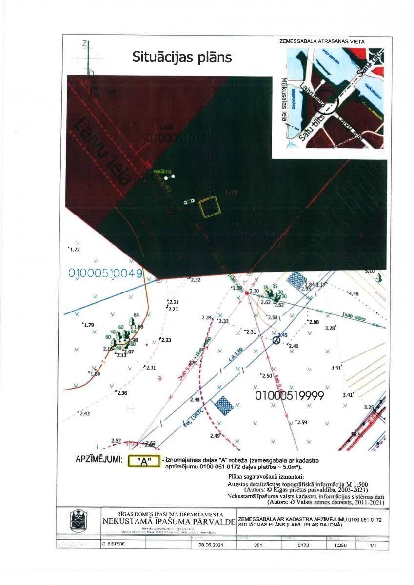 """Sludinājums par neapbūvēta zemesgabala bez adreses, Lucavsalas ielā, Rīgā, kadastra apzīmējums 0100 051 0172, daļas """"A"""", pirmo nomas tiesību izsoli"""